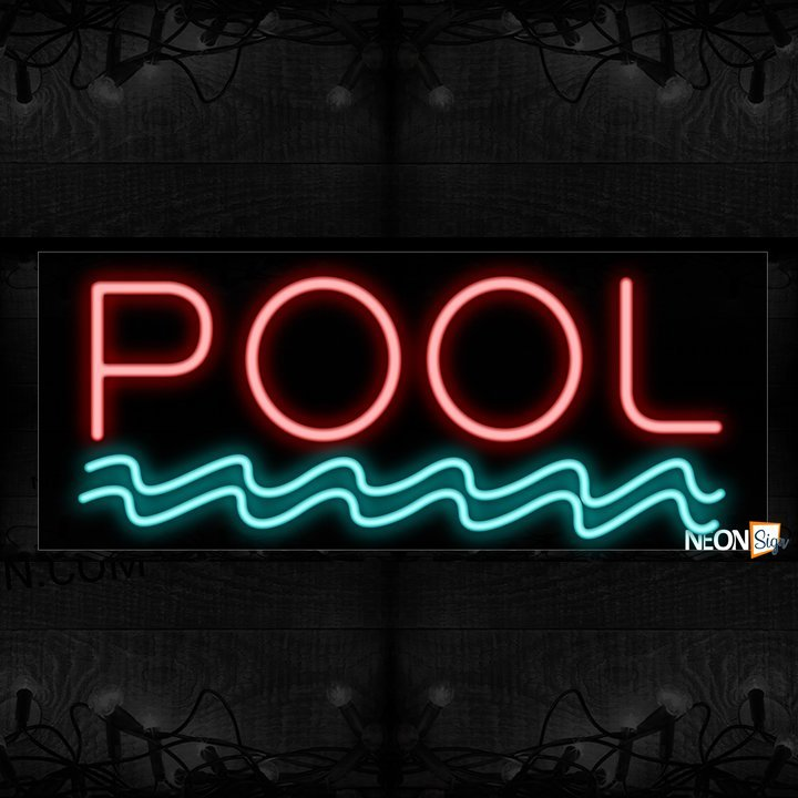 Image of Pool with wave border Neon Sign_13x32 Black Backing