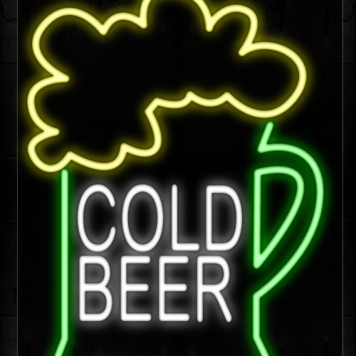 Image of 10466 Cold Beer With Beer Mug Traditional Neon_20x37 Black Backing
