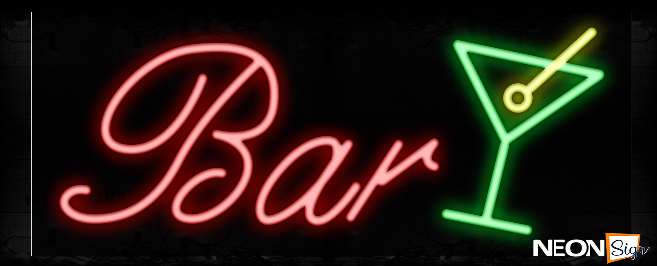 Bar In Red With Logo Neon Sign   NeonSign.com