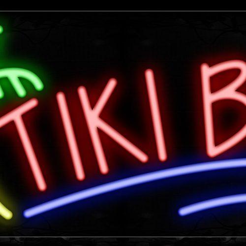 Image of Tiki Bar With Tree Logo Neon Signs_13x32 Black Backing