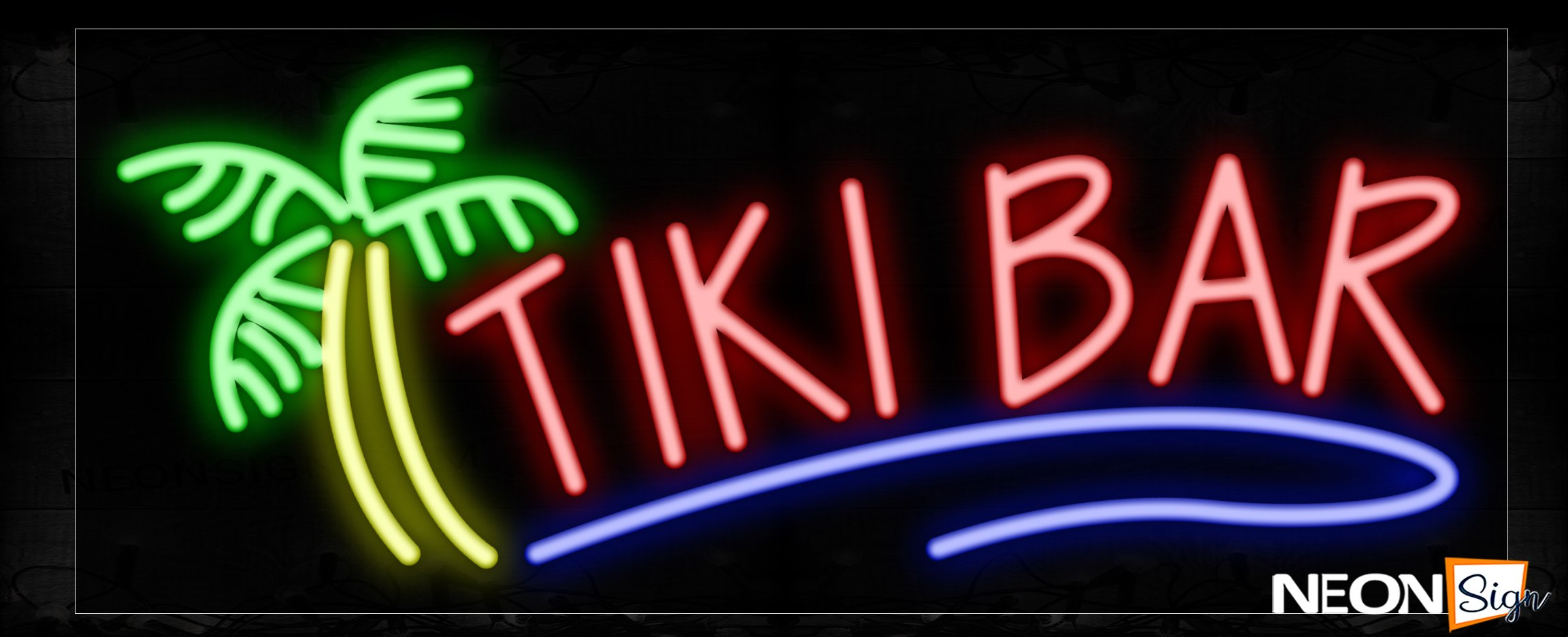 Image of Tiki Bar With Tree Logo Neon Signs_13x32 Black Backing