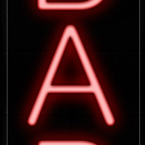 Image of 12199 Bar In Red Neon Signs - Vertical_8x24 Black Backing