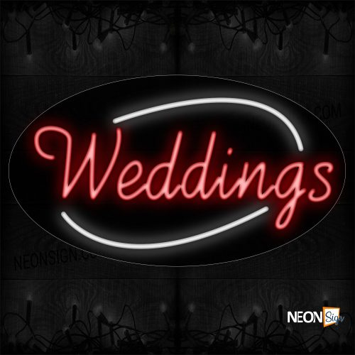Image of Red Weddings Traditional Neon_17x30 Contoured Black Backing