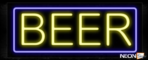 Image of Beer In Yellow And Blue Border Neon Signs_13x32 Black Backing