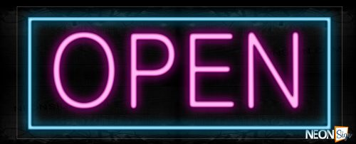 Image of Open in Purple With Aqua Border Neon Sign
