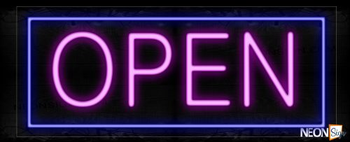 Image of Open With Blue Border Neon Sign