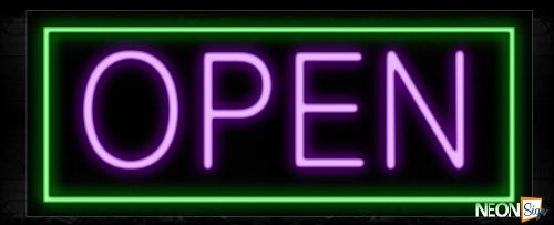 Image of Open in Purple With Green Border Neon Sign