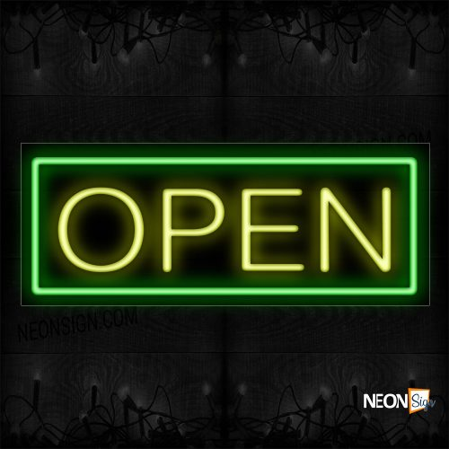 Image of Open in Yellow With Green Border Neon Sign
