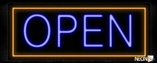 Image of Open Sign With Orange Border Neon Sign