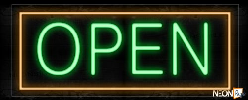 Image of Open With Orange Border Neon Sign