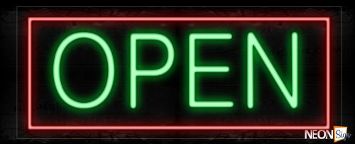 Image of Open in green With Red Border Neon Sign