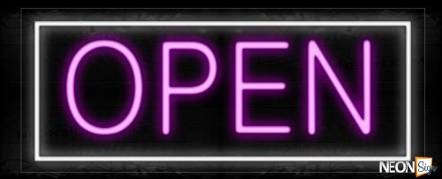 Image of Open in pink With White Border Neon Sign
