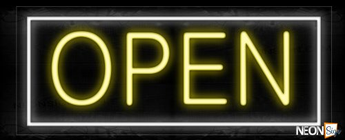 Image of Open in yellow with White Border Neon Sign