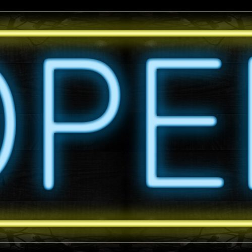 Image of Open in aqua and Yellow Border Neon Sign