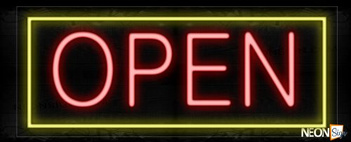 Image of Open in red With Yellow Border Neon Sign
