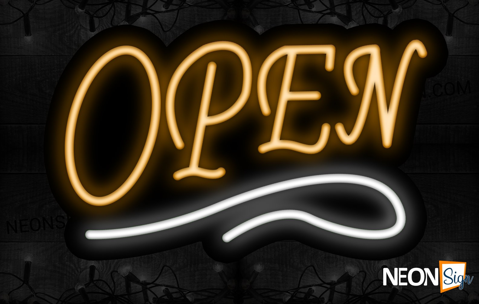 Image of Open in orange With White lines Neon Sign