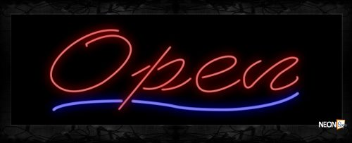 Image of Open in red With blue curvy line Neon Sign