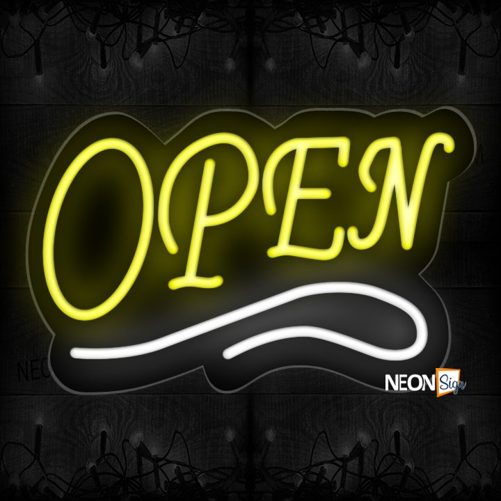 Image of Open With White Neon Sign