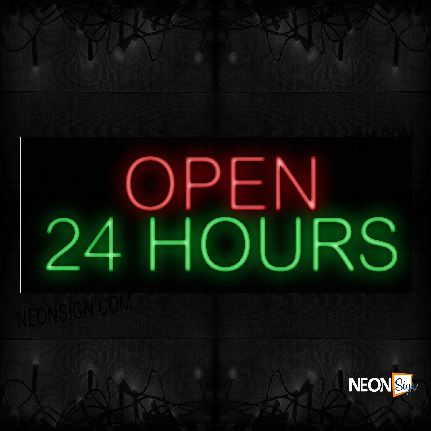 Image of Open 24 Hrs in Red and Green Neon Sign