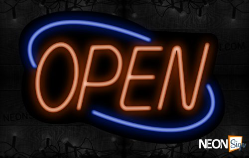 Image of Open (Orange Text) With Blue Arc Border Neon Sign