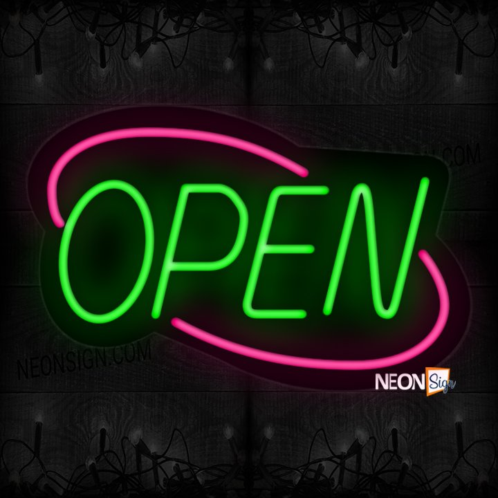 Image of Open With Pink Double Stroke Arc Border Neon Sign