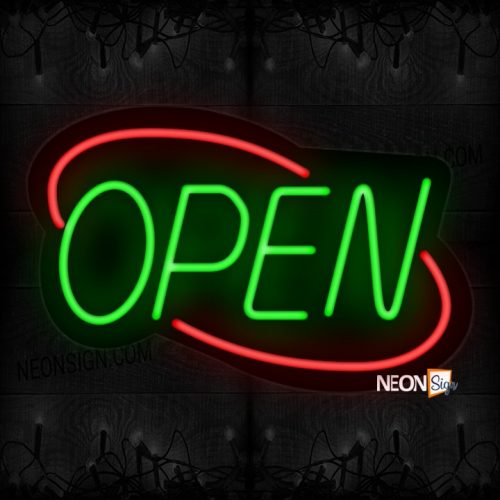 Image of Open With Red Double Stroke Arc Border Neon Sign