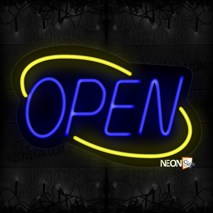 Image of Open With Yellow Double Stroke Arc Border Neon Sign