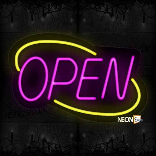 Image of Open With Yellow Double Arc Border Neon Sign