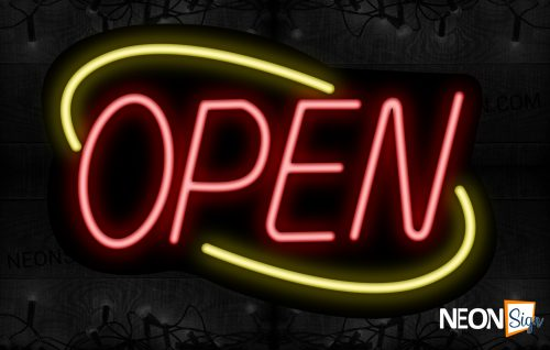 Image of Open (Red Text) With Yellow Arc Border Neon Sign