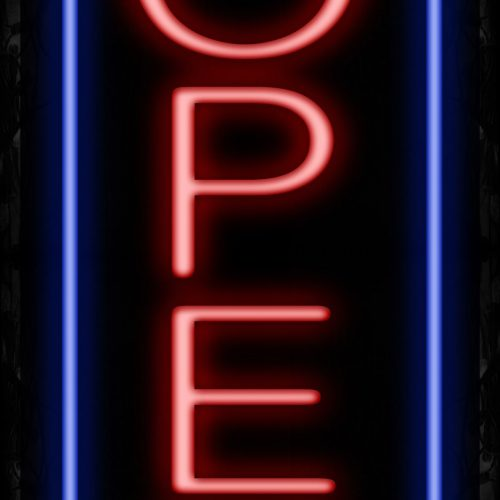 Image of Open With Blue Vertical Border Neon Sign - Vertical