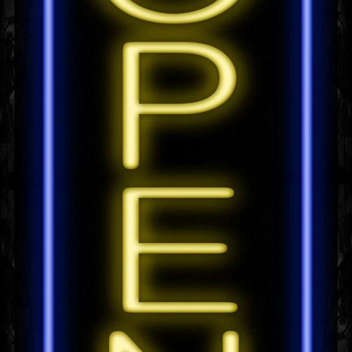 Image of Open in Yellow With Blue Vertical Border Neon Sign