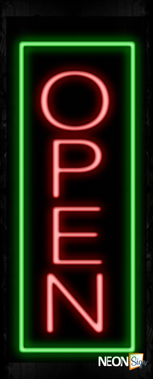 Image of Open in red With Green Vertical Border Neon Sign