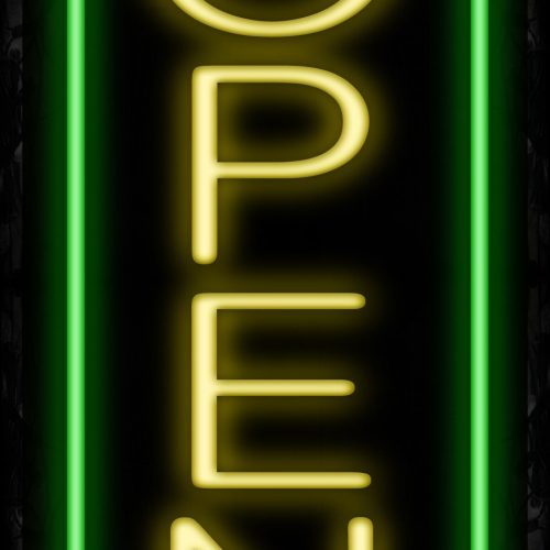 Image of Open With Green Vertical Border Neon Sign