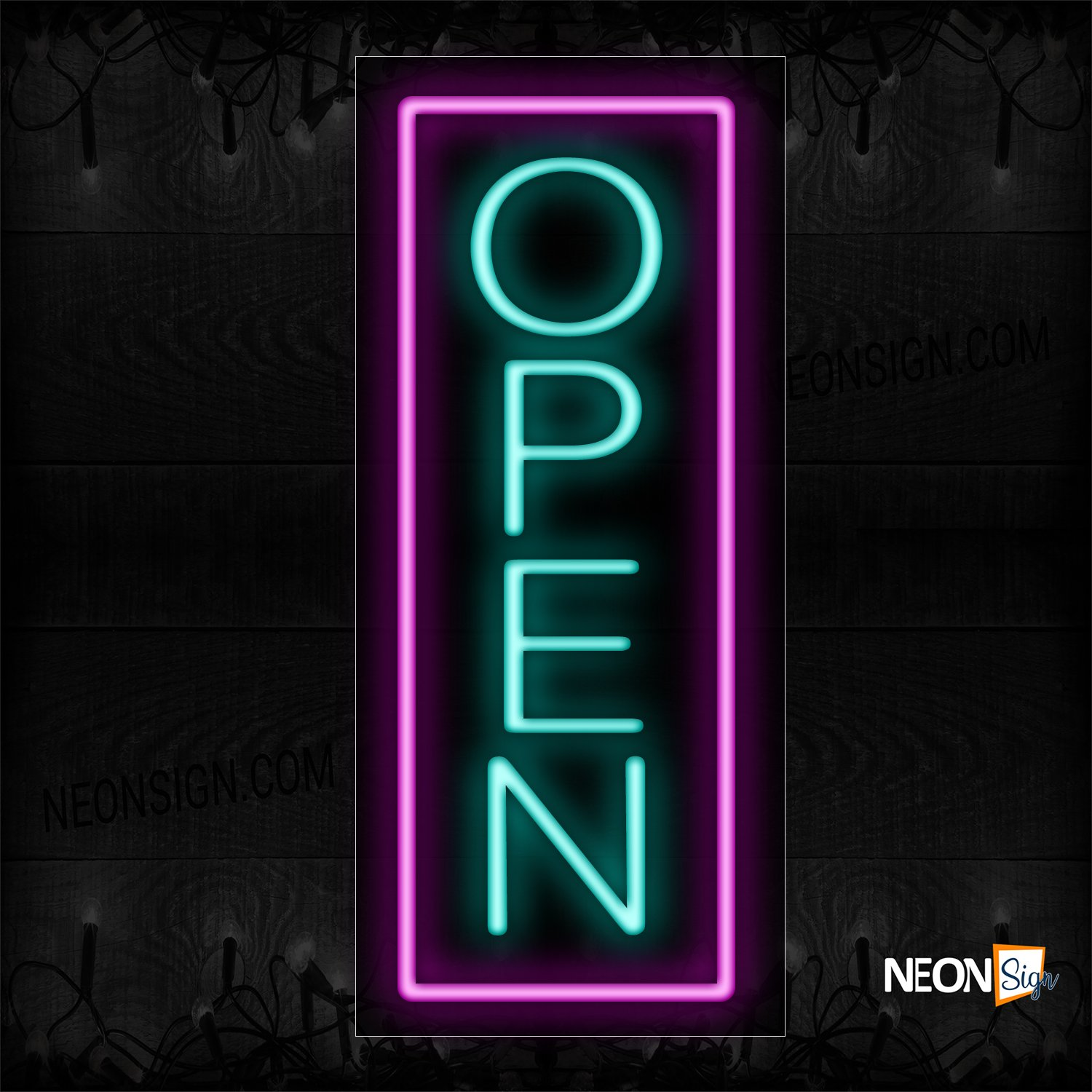 Image of Open With Pink Vertical Border Neon Sign