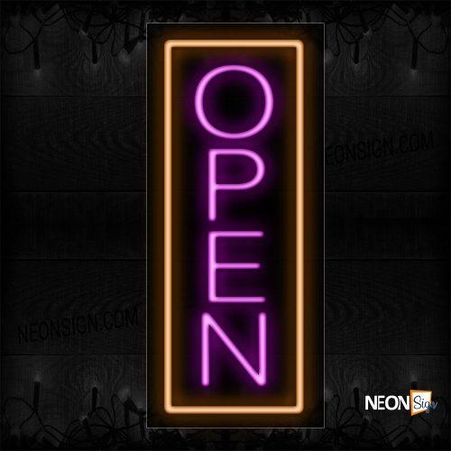 Image of Open in purple With Orange Vertical Border Neon Sign