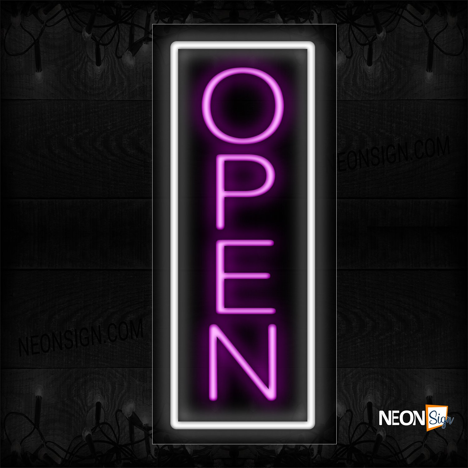 Image of Open in pink With White Vertical Border Neon Sign