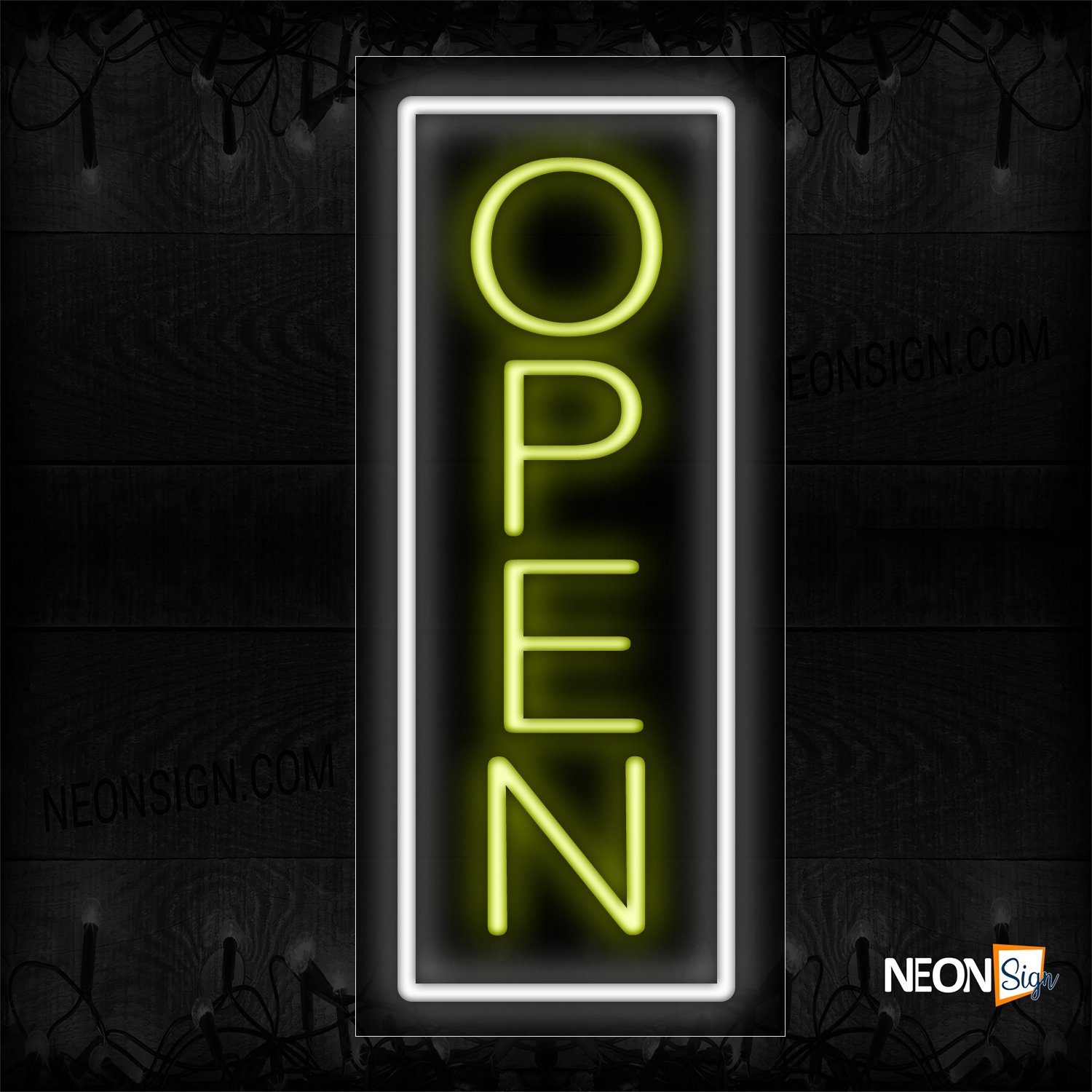 Image of Vertical Open With White Border Neon Sign