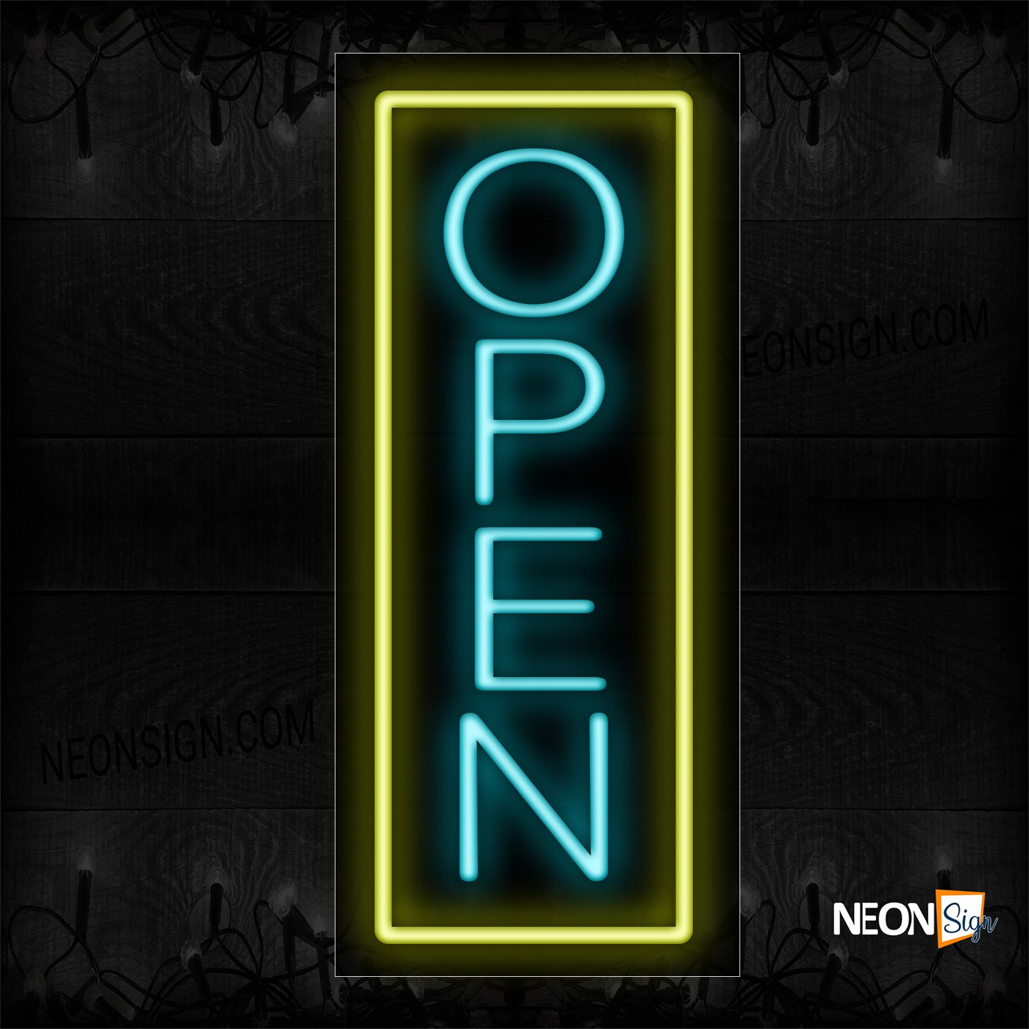 Image of Open in aqua With Yellow Vertical Border Neon Sign