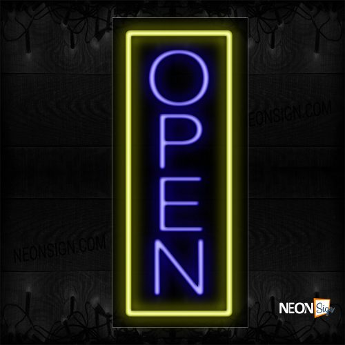 Image of Open in blue With Yellow Vertical Border Neon Sign
