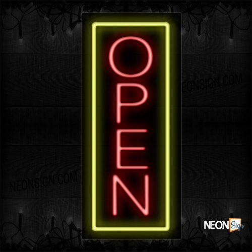Image of Open in red With Yellow Vertical Border Neon Sign