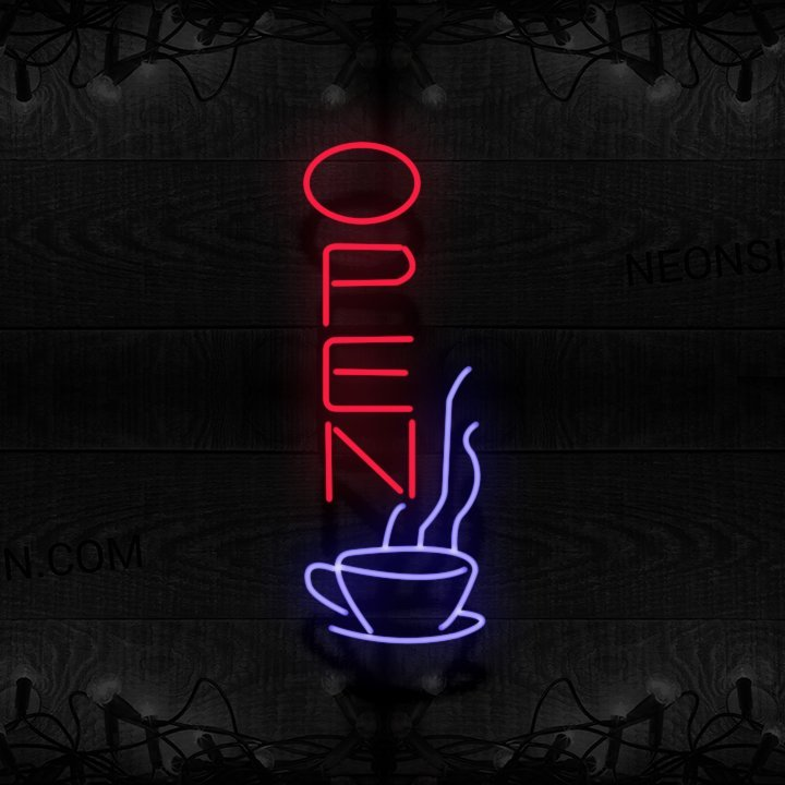 Image of Open In Red With Cup (Vertical) Neon Sign