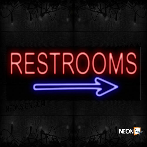 Image of Restrooms With Arrow Symbol Border Neon Sign