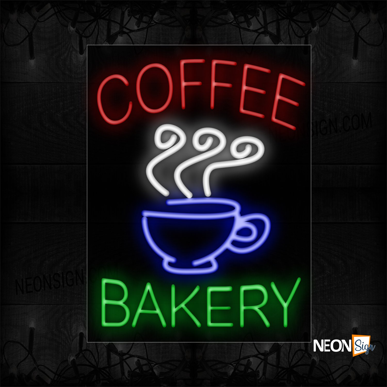 Image of Coffee & Bakery With Cup Image Vertical Border Neon Sign