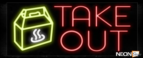 Image of Take Out With Logo Neon Sign