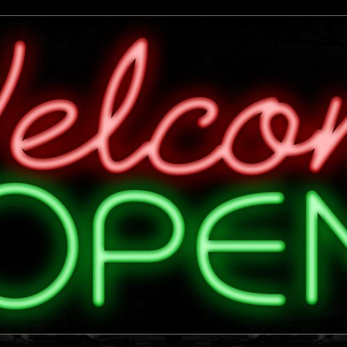 Image of Welcome Open in red and green With Blue Lines Neon Sign