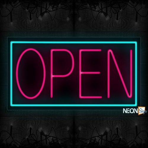 Image of Open in Pink With Aqua Border Neon Sign