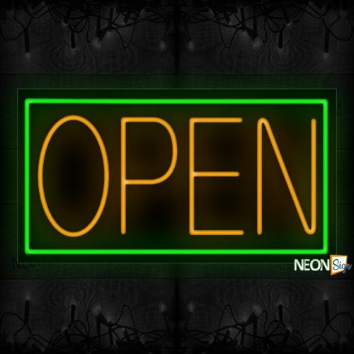 Image of Open in Orange With Green Border Neon Sign