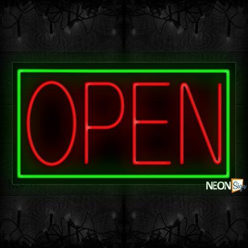 Image of Open in Red with Green Border Neon Sign