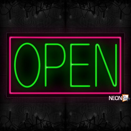 Image of Open Green With Pink Border Neon Sign