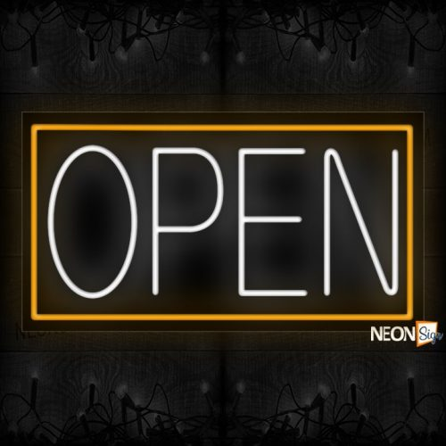 Image of Open in white With Orange Border Neon Sign